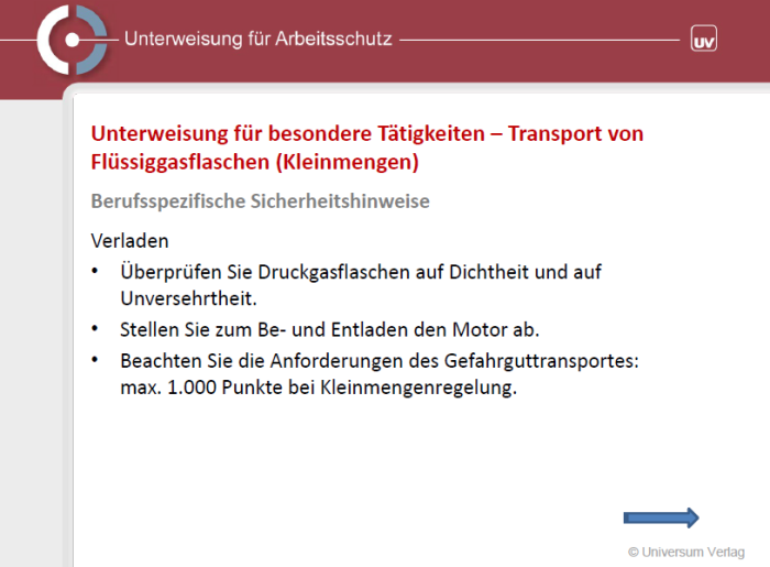 Unterweisungspräsentation - Transport von Flüssiggasflaschen