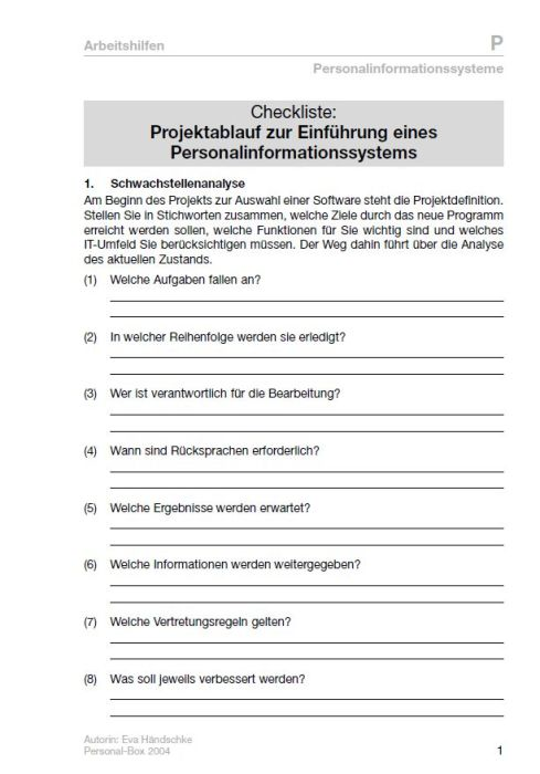 Checkliste - Personalinformationssysteme