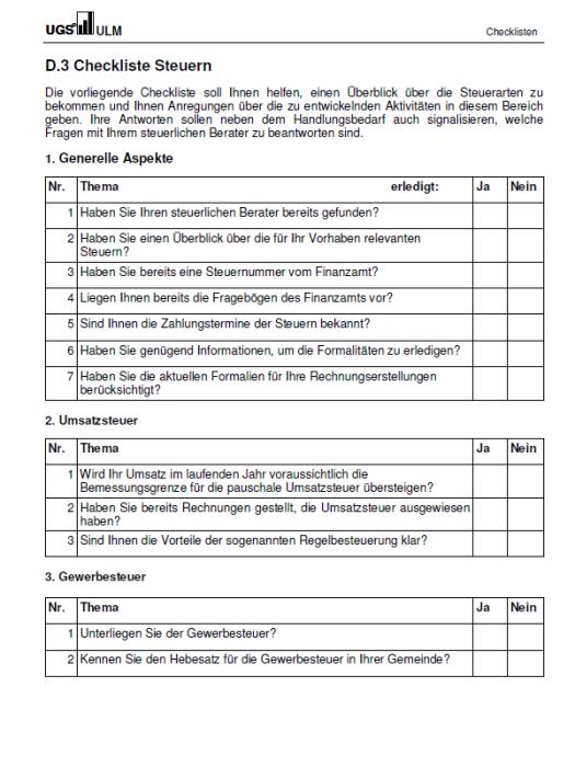 Checkliste - Steuern