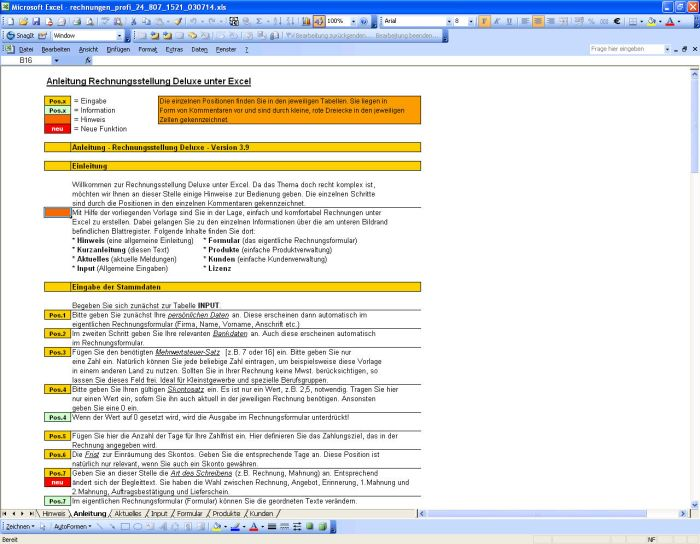 Profi-Excelvorlage: Rechnungserstellung