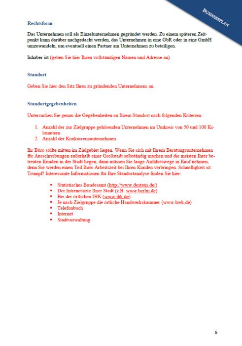 Businessplan - Ausschreibungen (Bauwesen)