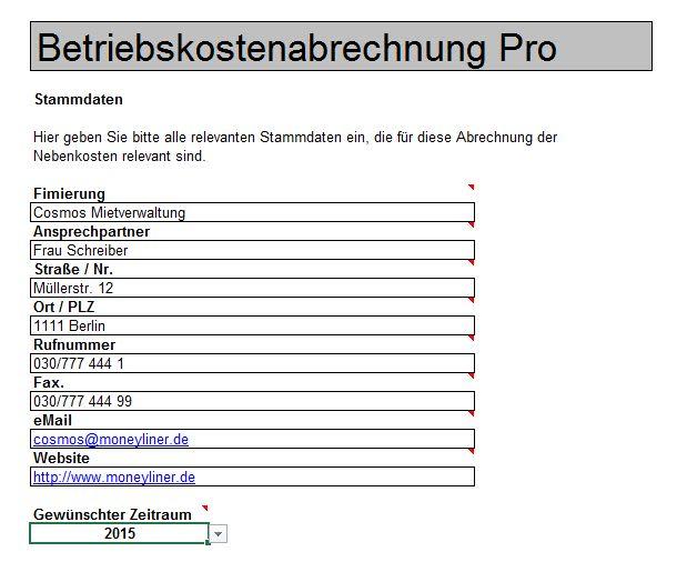 Betriebskostenabrechnung Excel Tabelle Zum Download 11