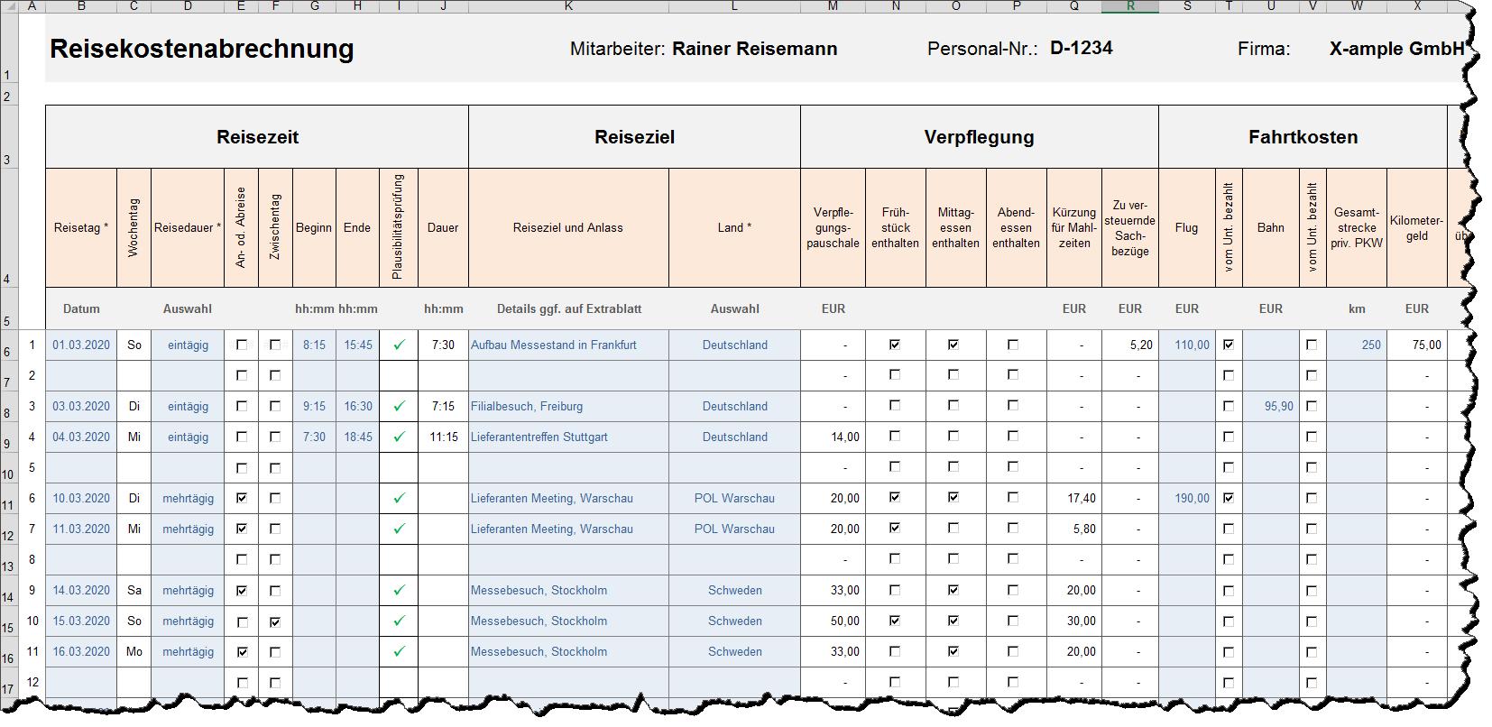 Reisekostenabrechnung Als Excel Vorlage