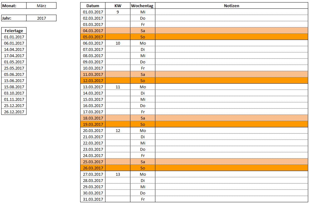 Vorlage zum Download: Excel - Monatskalender