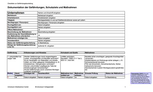 Gefahrdungsbeurteilung Montagearbeiten In Und Auf Stahlkonstruktionen Sowie Auf Leitern Hier Als Download