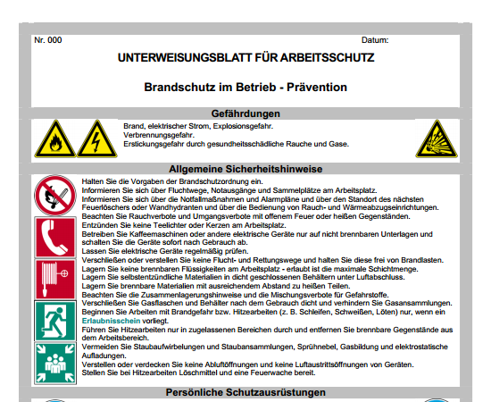 Unterweisung Brandschutz Pravention Vorlage Zum Download