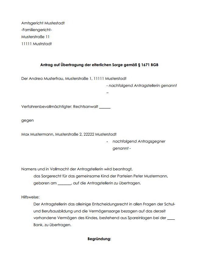 Sorgerechtsverfugung Muster Vorlage Word Und Pdf 10