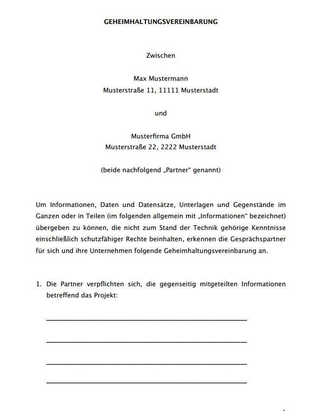 Muster Geheimhaltungsvereinbarung Forschung Entwicklung