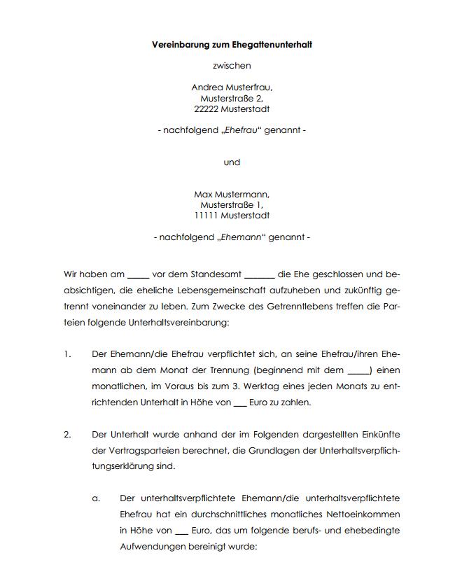 Trennungsvereinbarung Vorlage Zum Download 4