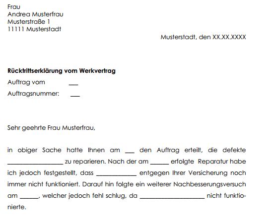 Rucktritt Vom Werkvertrag Muster Sofort Zum Download