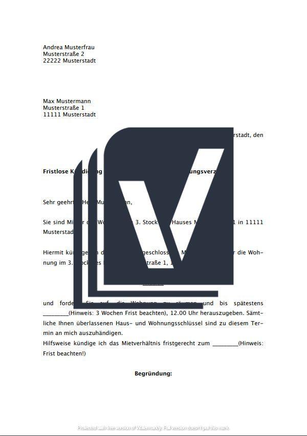Muster zum Download: Kündigung Mietvertrag durch Vermieter (ordentlich)
