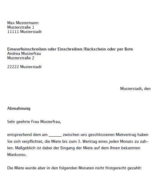 Musterbrief Abmahnung Mieter Musterix 7