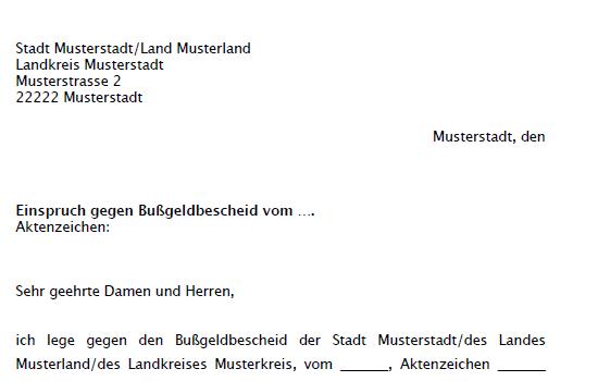 Einspruch Gegen Bussgeldbescheid Muster Word Und Pdf 14