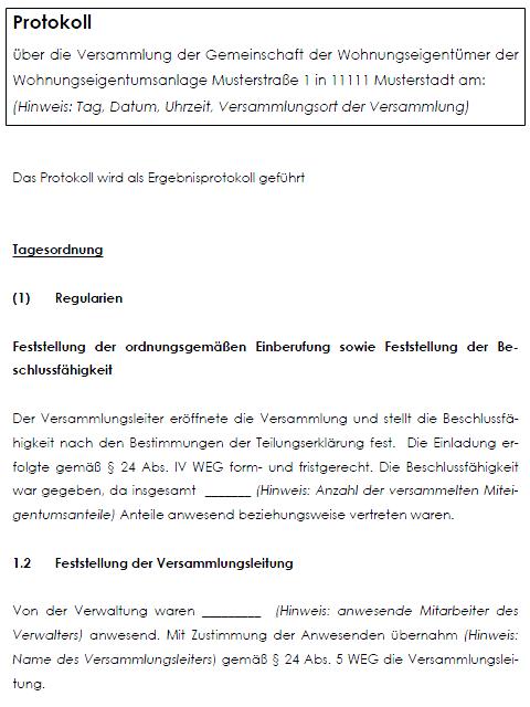 Protokoll Wohnungseigentumerversammlung Muster Zum Download