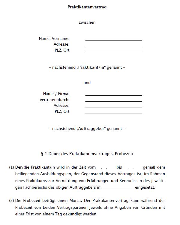 Praktikumsvertrag Vorlage Download Freeware De