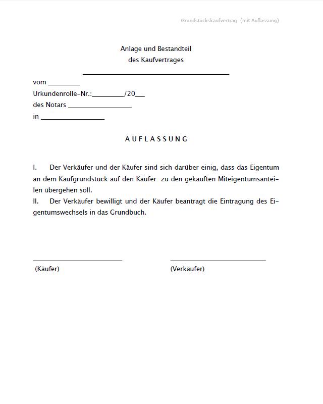 Grundstückskaufvertrag Mit Auflassung
