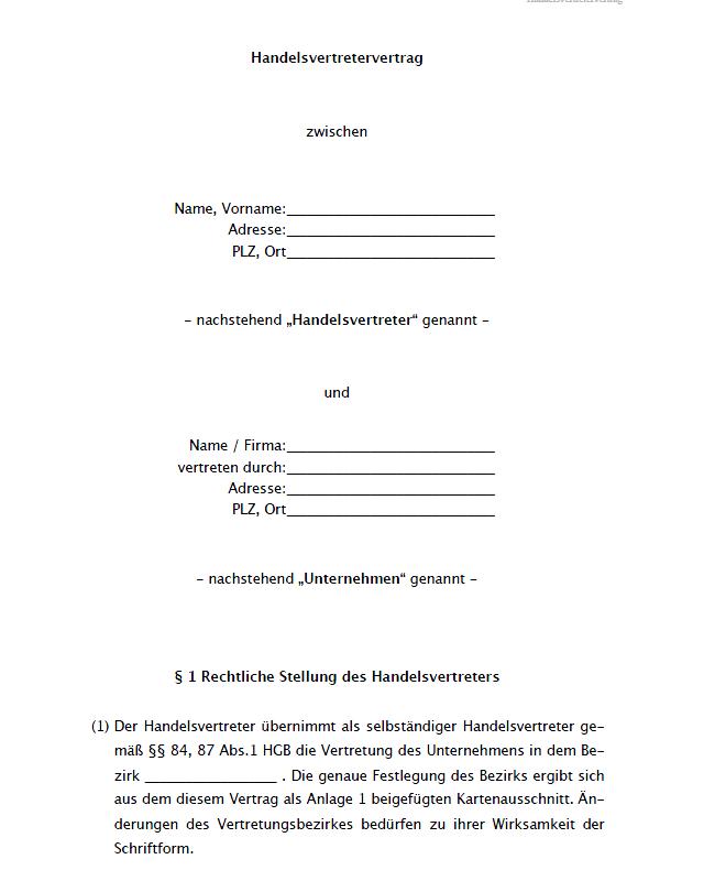 Muster Handelsvertretervertrag Vorlage Zum Download