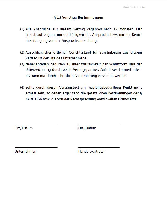 Fristgemasse Kundigung Handelsvertreter Muster Zum Download 7