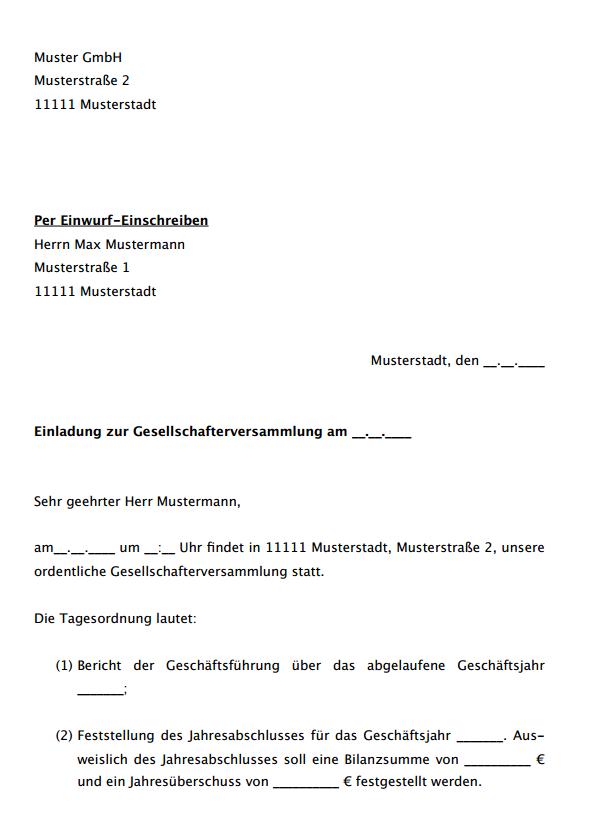 Protokoll Gesellschafterversammlung Muster Zum Download 2