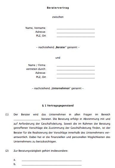 Beratungsvertrag Dienstvertrag Muster Word Und Pdf