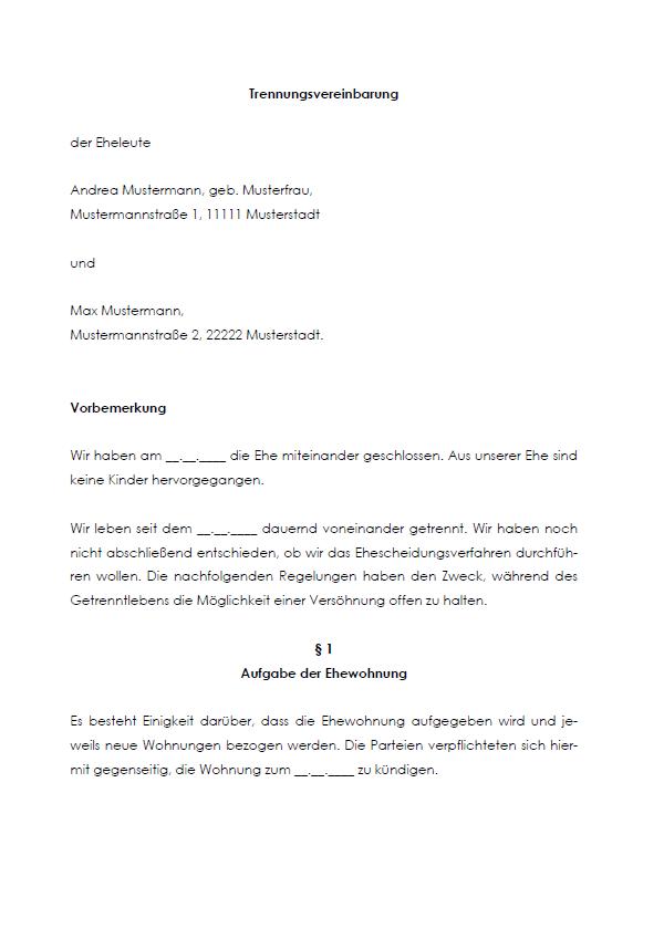 Trennungsvereinbarung Muster Pdf Kostenfreier Download 12