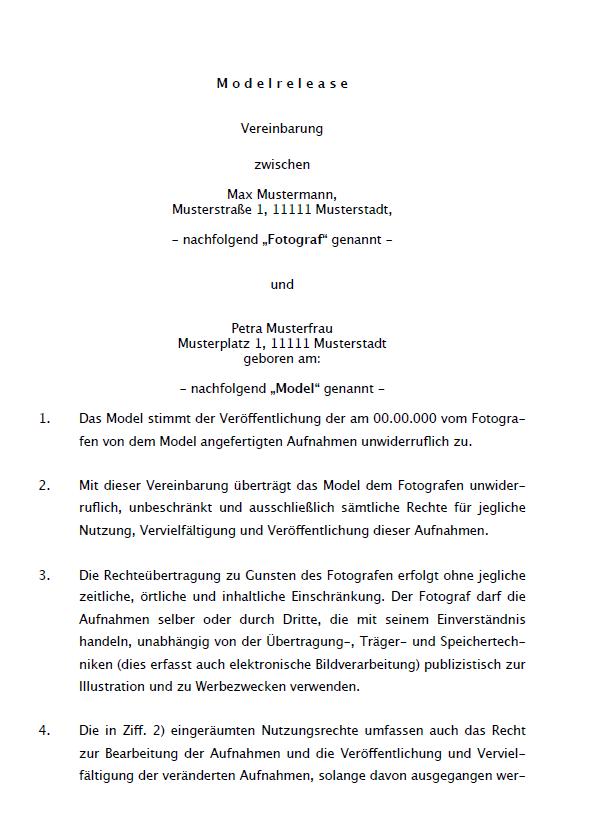 Model Release Vereinbarung Muster Vorlage Word Pdf