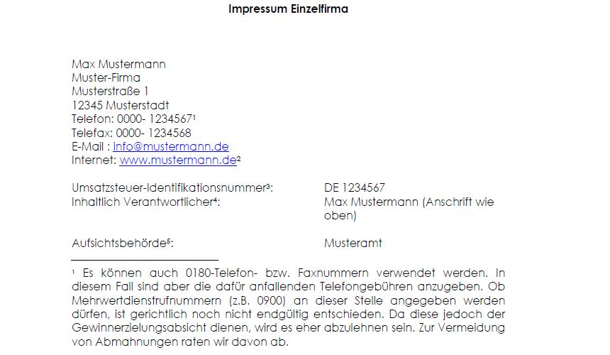 Impressum Termsfeed 9