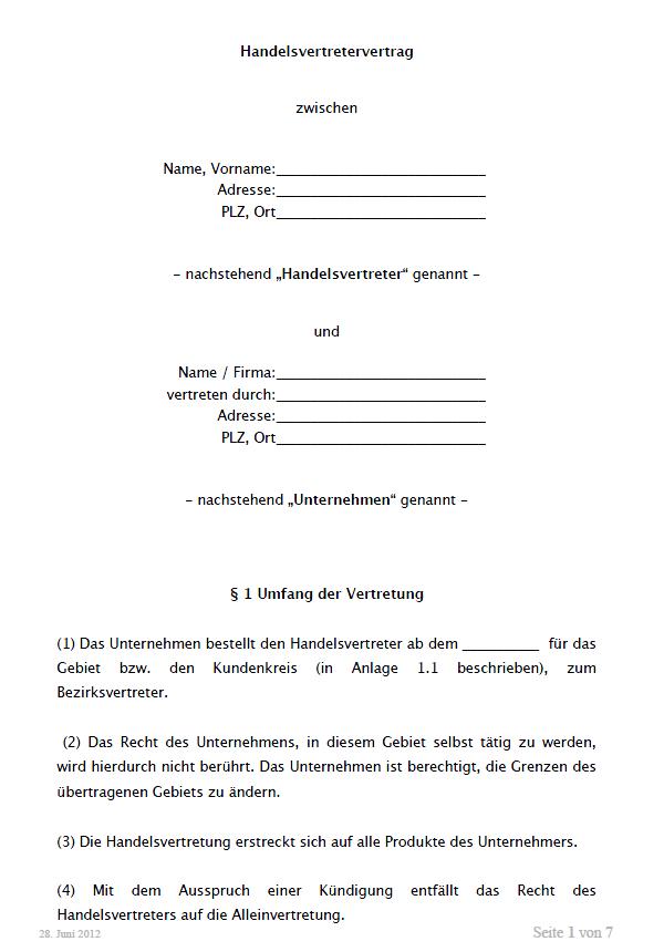 Handelsvertretervertrag Vorlage Zum Download 1