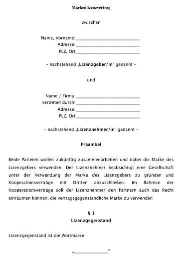Lizenzvertrag Fur Eine Marke Nicht Exklusiv Vorlagen De