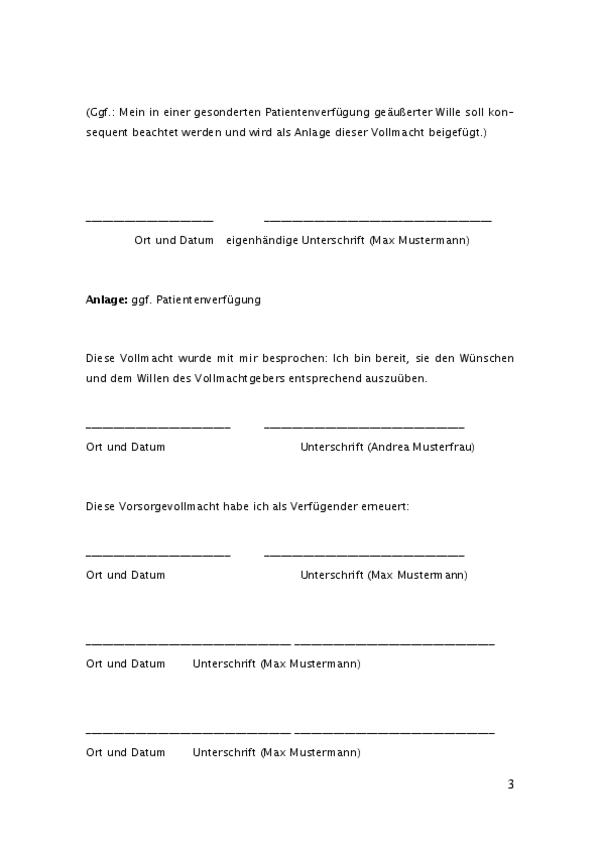 Vorsorgevollmacht Rechtssicheres Muster Zum Download 2