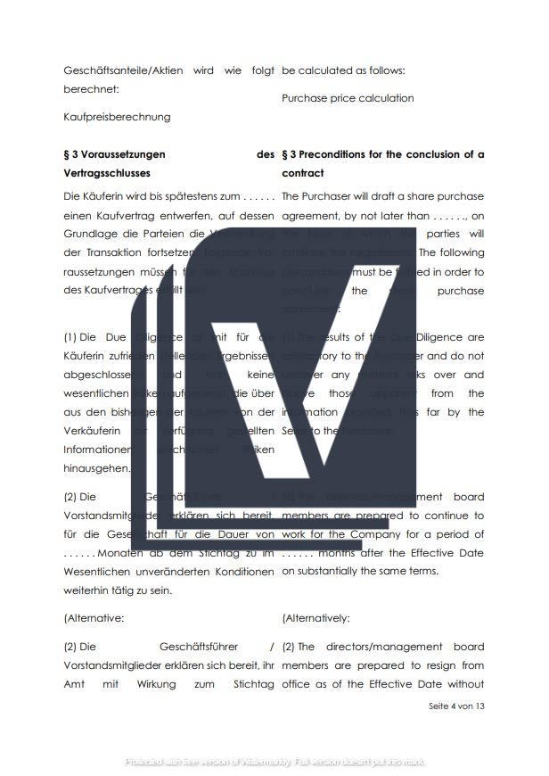 Letter Of Intent Loi Englisch Deutsch F200 2
