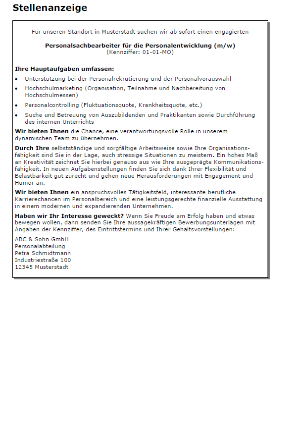 Bewerbung Personalsachbearbeiter Ungekundigt 7