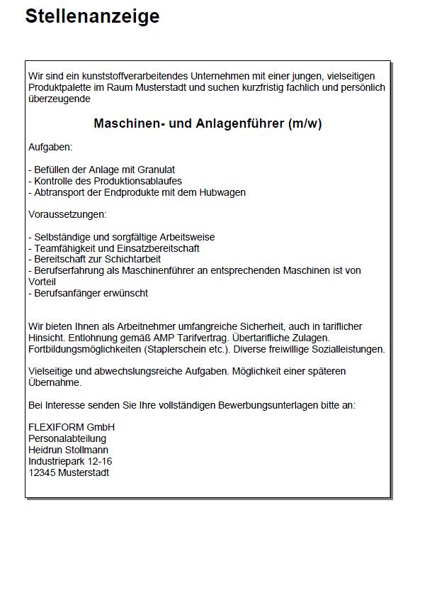 Bewerbung Als Maschinenbediener Uberzeugende Vorlage 15