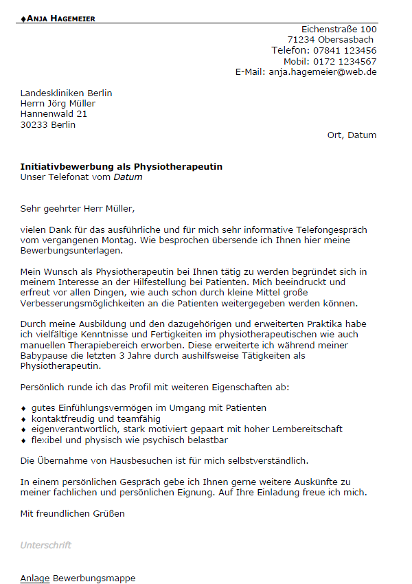 Bewerbungsvorlage Physiotherapeut In Careeasy