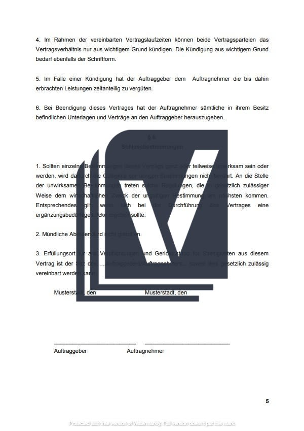 Geschaftsbesorgungsvertrag Muster Zum Download 1