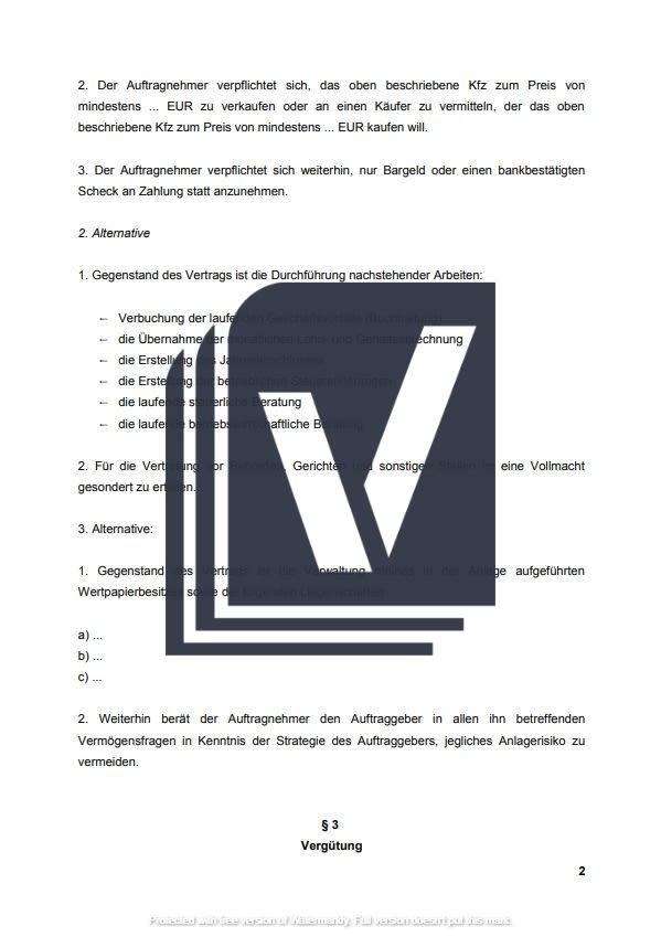 Geschaftsbesorgungsvertrag Muster Zum Download