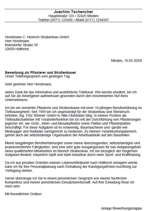 Bewerbung Strassenbauer Strassenbauerin Bewerbungsvorlagen