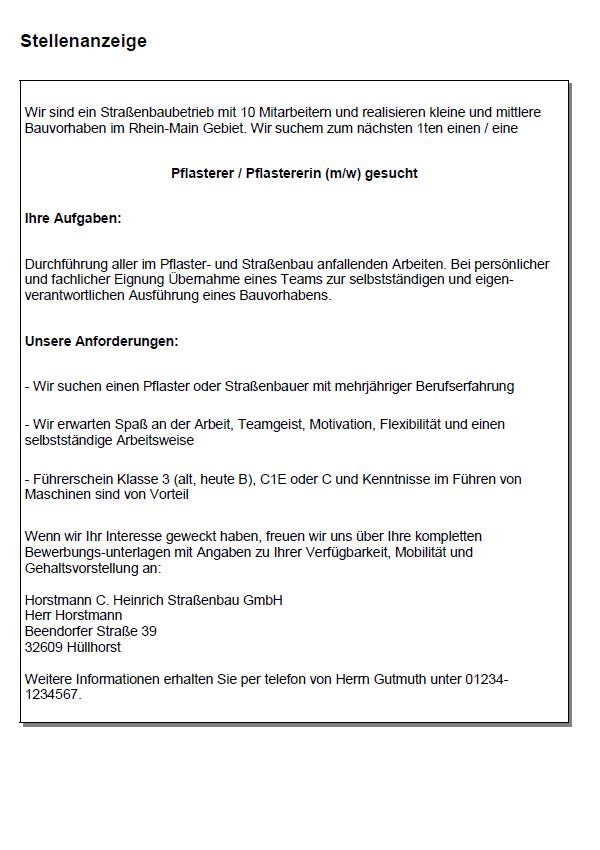 Bewerbung Strassenbauer Strassenbauerin Bewerbungsvorlagen 15