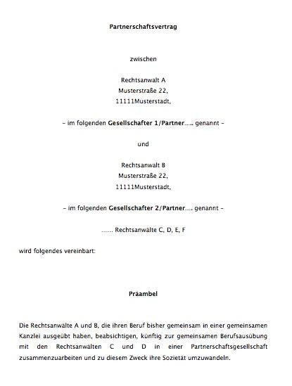 Partnerschaftsvertrag Fur Rechtsanwalte Muster Zum Downlaod