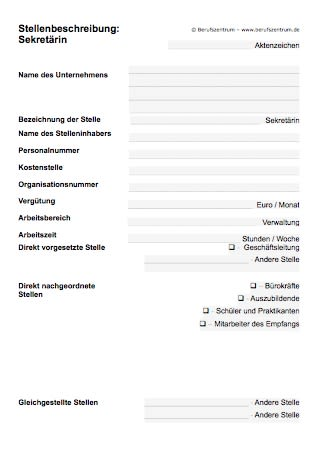 Stellenbeschreibung Sekretar In Muster Zum Download