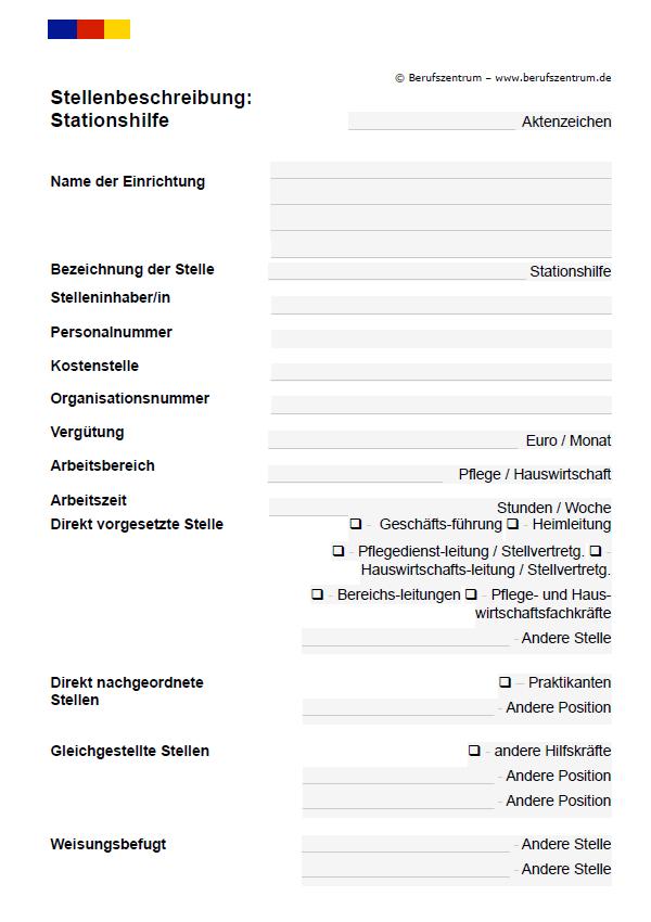 Stellenbeschreibung Stationshilfe Muster Vorlage Download