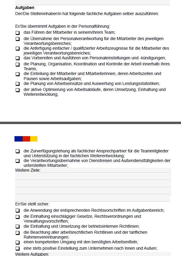 Stellenbeschreibung Teamleitung Muster Vorlage Download