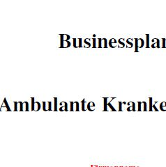 Businessplan - Ambulante Pflege