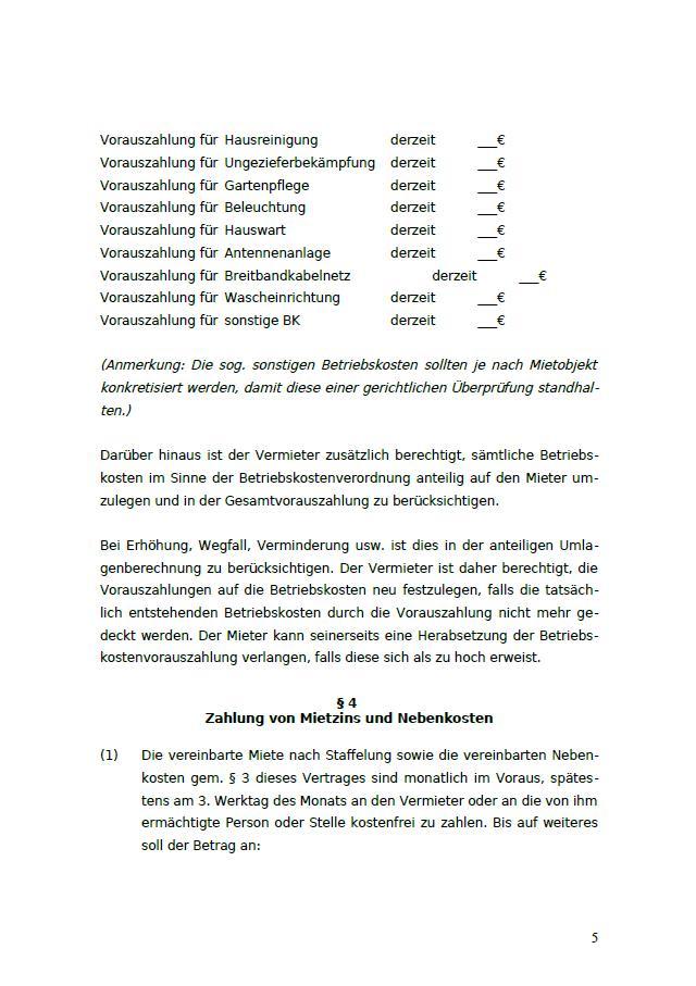 Gewerbemietvertrag Staffelmiete Rechtssichere Vorlage Zum Download
