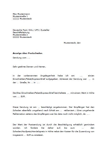 Reklamation Brief Beispiel Germania