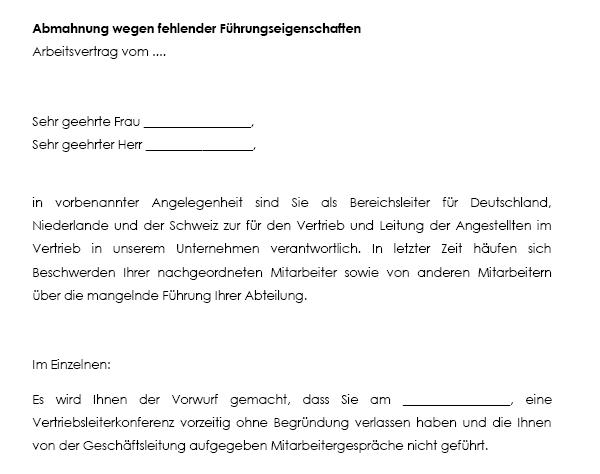 Download Abmahnung Muster Vorlage Schrader