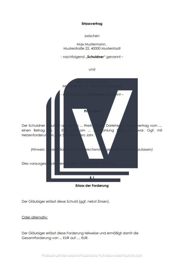 Erlassvertrag Forderungsverzicht Muster Zum Download
