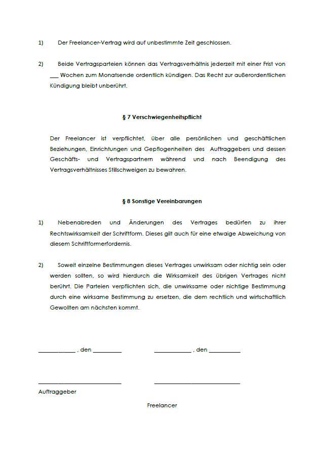 Freelancer Vertrag Muster Zum Download