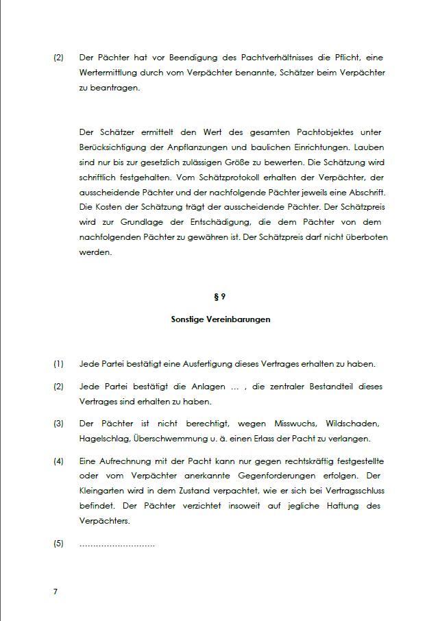Kleingarten Pachtvertrag