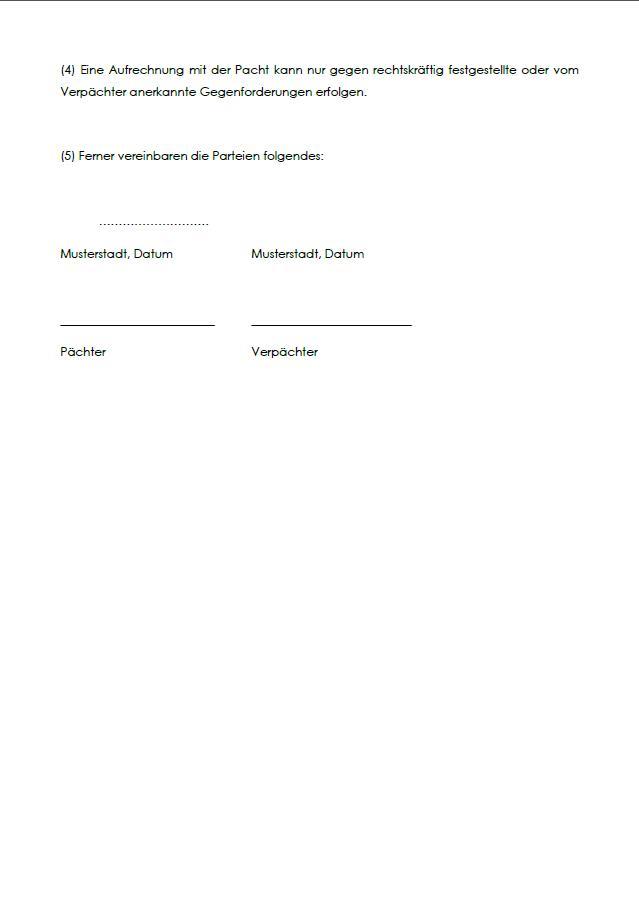 Pachtvertrag Muster Standardvertraege De